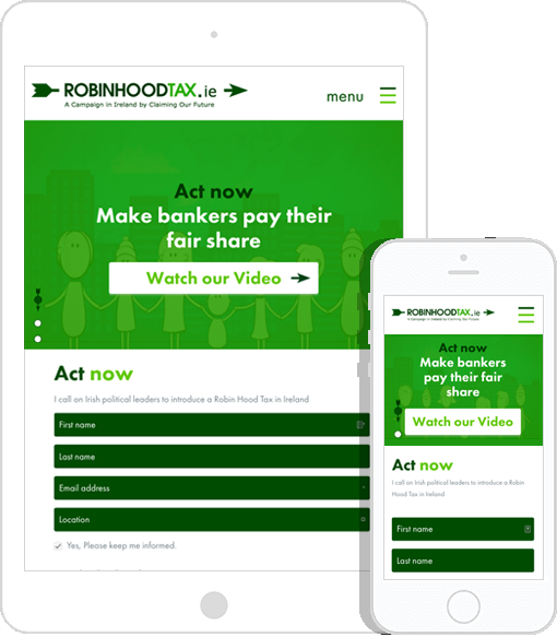 Robin Hood Tax Mobil Responsive Screenshots